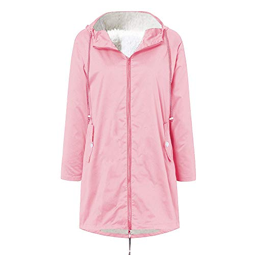 LONGDAY Womens Hooded Jacket Lightweight Waterproof Hooded Raincoat Active Outdoor Rain Coat Windbreaker Fur Lining Top