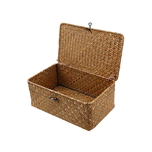 (Vosarea Rattan Storage Basket Makeup Organizer Multipurpose Container with Lid)