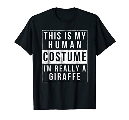 Mens Giraffe Halloween Costume Shirt Funny Easy for Kids Adults 2XL Black