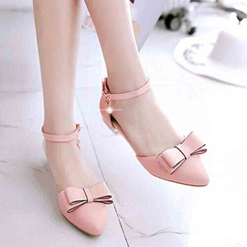 Easemax Womens Sweet Bows Pendant Beads Ankle Buckle Straps Pointed Toe Low Chunky Heel Sandals Pink PjRGG