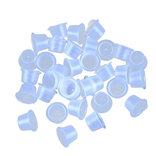 Fashionzone 100pcs Plastic Tattoo Clear Medium Size Permanent Makeup Ink Cups Pigment Caps Tattoo Accessories Supply