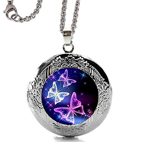 DianaL Boutique Silver Tone Beautiful Blue and Purple Butterfly Locket Pendant Necklace with 24