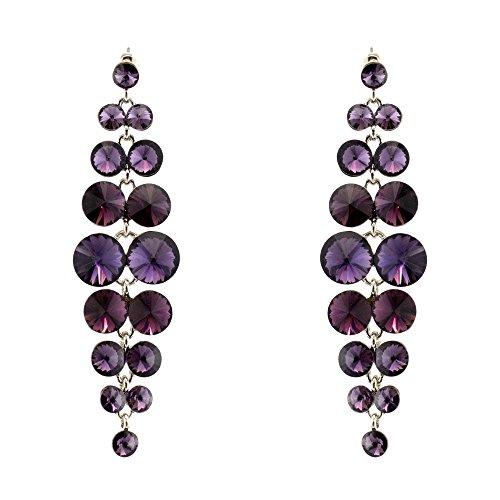 285-PURPLE AMETHYST Fashion Party & Wedding Jewelry Tear Drop Dangle Chandelier Alloy Rhinestone Earrings (Chandelier Wedding Rhinestone Earrings)