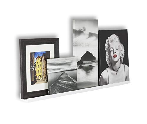 Wallniture Boston Contemporary Floating Wall Shelf - Picture Ledge for Frames Book Display White 46 Inch by Wallniture
