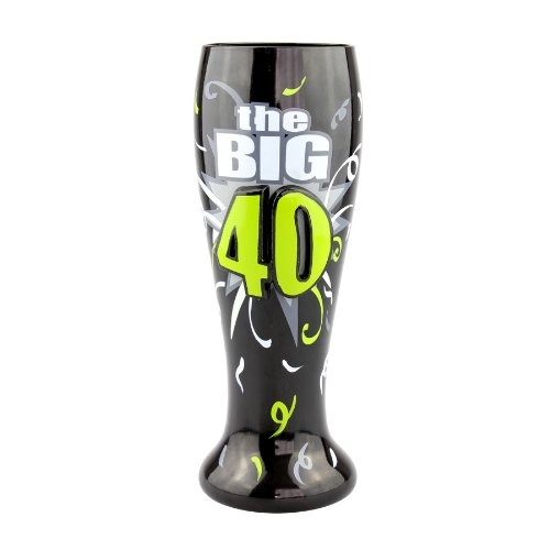 Beer Hand Painted - Top Shelf 40th Birthday The Big 40-Happy Birthday Pilsner Glass