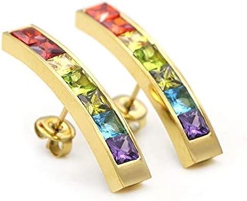Pendientes de piedras preciosas cuadrados magnéticos de 24 quilates, chapados en oro duro, con arcoíris brasileño, multicolor, colección de estrellas Energetix 4you 9001, oro natural