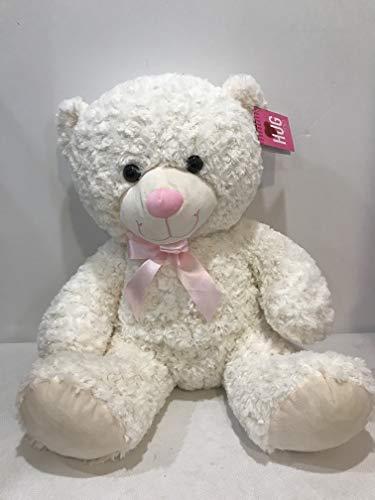 "Hugme 20"" Large Sitting Swirl Curly Fur Teddy Bear with Satin Ribbon (Cream)"