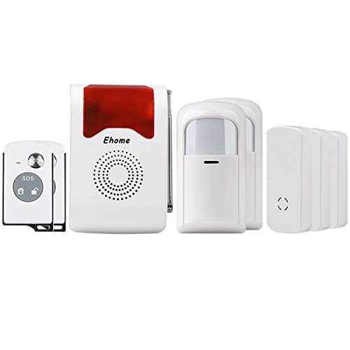 Ehome Wireless Acousto-optic Home Security Alarm System, 2pcs Wireless PIR Motion Infrared Detector + 3 pairs Door Alarm Sensor Anti-Theft SOS System with 2pcs Remote Controller Ehome