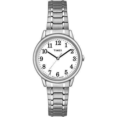 Timex Women Easy Reader   Silver-Tone w White Dial Indiglo Watch TW2P78500 (Watches Expandable Bracelet)