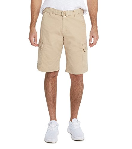 Shorts Crown Mens (9 Crowns Men's Premium Twill Belted Cargo Shorts-Khaki-34)