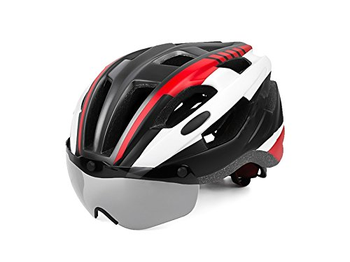 Junson Cycling Adult Detachable Goggles Bicycle Helmet One-Piece Adjustable Safety Protection Helmet(Red+Black) for Sports by Junson