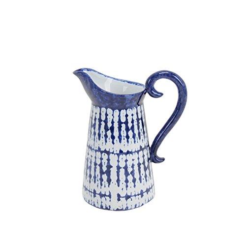 -04 Ceramic Pitcher, 6.75 x 4.25 x 7.75, Blue/White (Large Ceramic Pitcher)