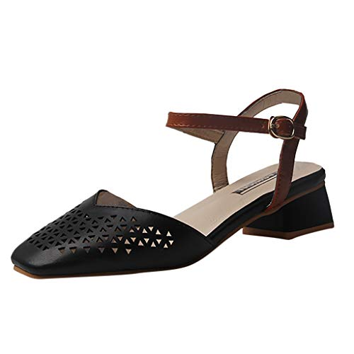 TnaIolral Women Pumps Sandals Summer Thick with Casual Hollow Belt Buckle Shoes (US:5.5, Black)