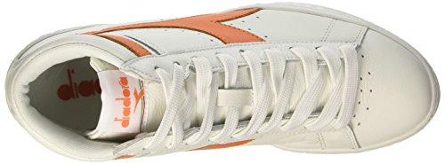 Diadora Game L High Waxed, Sandalias con Plataforma Unisex Adulto Multicolore (C5937 Bianco/Arancio Tropicale)