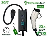 PRIMECOM 30 Feet Level 2 Electric Vehicle Charger 32 and 40 Amp 6-50P. 10-50P, 14-50P (14-50P, 32 Amp)