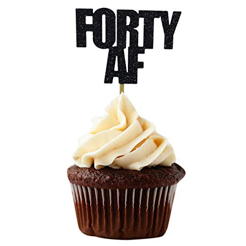 Black Glitter Forty AF Cupcake Toppers for 40th Birthday Party Decorations - Set of 24 (40 Birthday Cup Cake Toppers)