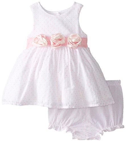 Laura Ashley London Baby-Girls Newborn Rosette Waist Dress, White, 6-9 Months