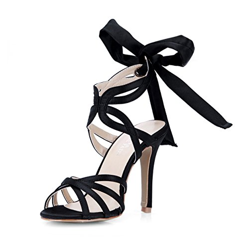 New Female sandals elegance ribbon beautiful show with a fine high-heel shoes black evening dress Black