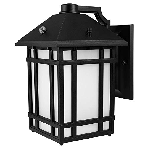 LEONLITE 14W LED Outdoor Wall Mount Lantern Fixture, Dusk to Dawn Photocell Included, 60W Eqv. Exterior Wall Lighting for Garden, Yard, Porch, Energy Star & ETL, 3000K Warm White, 5 ()