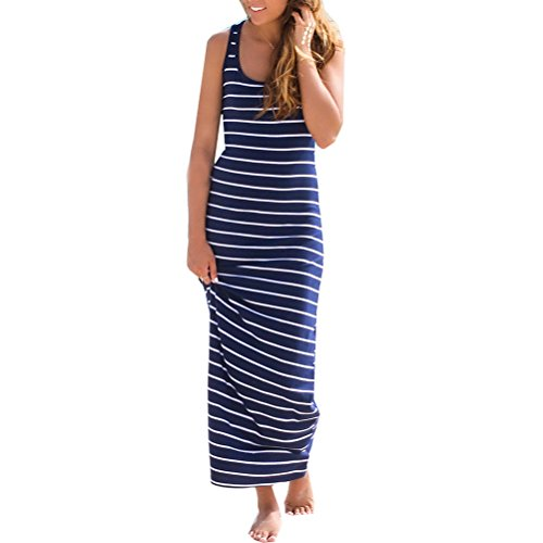Summer Sundress Donalworld Stripe Beach Boho Maxi Women Blue Dress Long 4wvwtqTP
