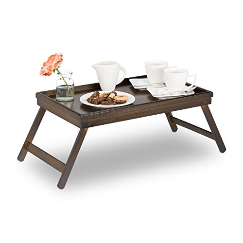 Price comparison product image Relaxdays 10023235 Bamboo Tray,  Folding Legs,  Raised Edge,  for Breakfast in Bed and Serving Table,  HWD: 22x64x31cm,  Dark Brown