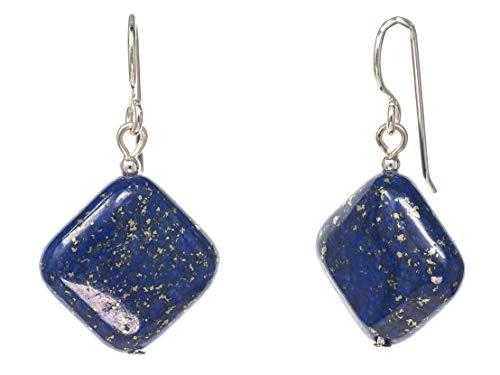 FRONAY Blue Square Lapiz Lazuli Dangle Hook Earrings for Women - Made in USA (lapis-lazuli)