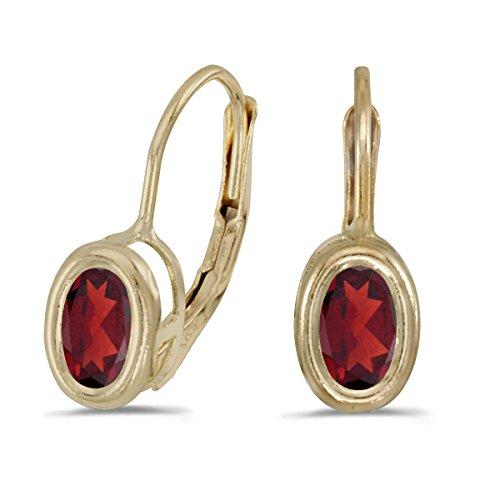 14k Yellow Gold 6x4mm Oval Garnet Bezel Set Lever-back Earrings