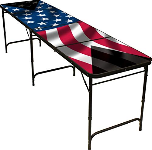 8' Folding Beer Pong Table with Bottle Opener, Ball Rack and 6 Pong Balls -  American Flag Design - By Red Cup Pong (Renewed)