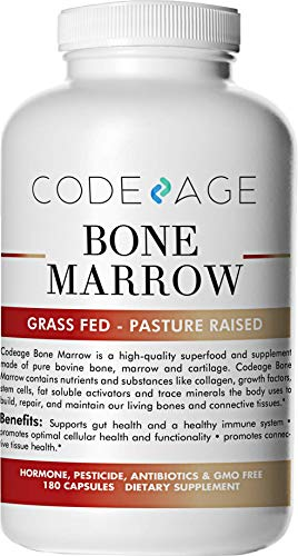 Codeage Grass Fed Bone Marrow, Full Spectrum Whole Bone Extract, Cold Processed Pasture Raised, Non GMO, 180 Capsules (Best Way To Trace Ancestry)
