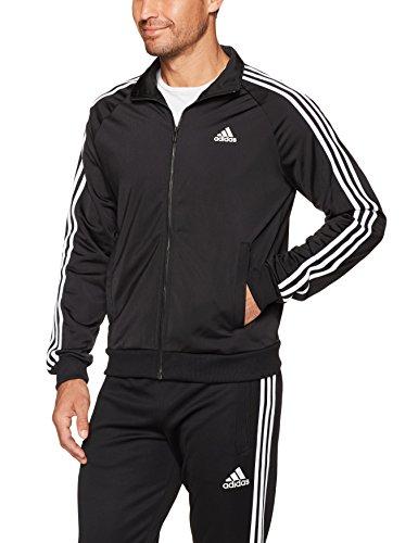 Adidas Mens Essentials 3 Stripe Tricot Track Jacket  Black White  Medium