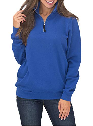 HOTAPEI Ladies Sweatshirts Oversized Long Sleeves Collar Quarter 1/4 Zip Fleece Pullover Sweatshirts for Women Fashion 2018 with Pockets Fall Outwear Tunic Top Shirts Blue Small