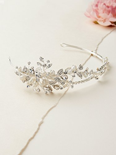 USABride Floral Leaf Crystal Simulated Pearl Rhinestone Headband Botanical Bridal Wedding Silver-Tone Leaves Headpiece TI-3268