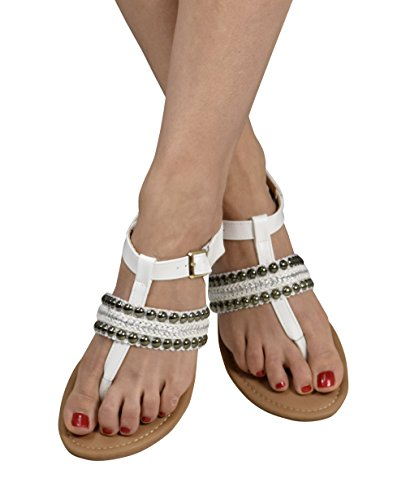 Peach Couture Pearl Studded Ankle Wrap Strappy Buckle Gladiator Sandals White 6 B(M) US