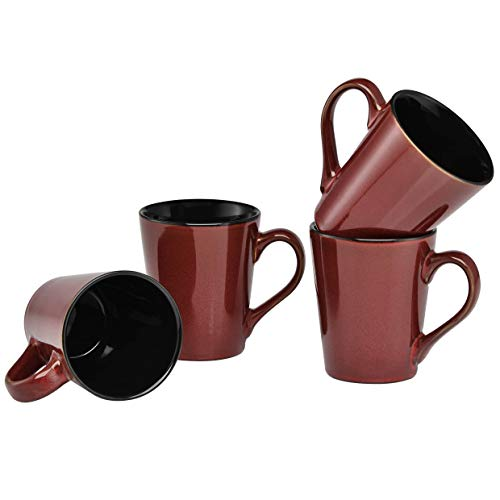Culver Serenity Cafe Ceramic Mug, 12-Ounce, Russet, Set of ()