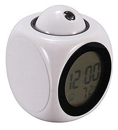 REDOI Relojes de proyección multifuncionales LED Colorido Reloj de proyección de voz en inglés de hora