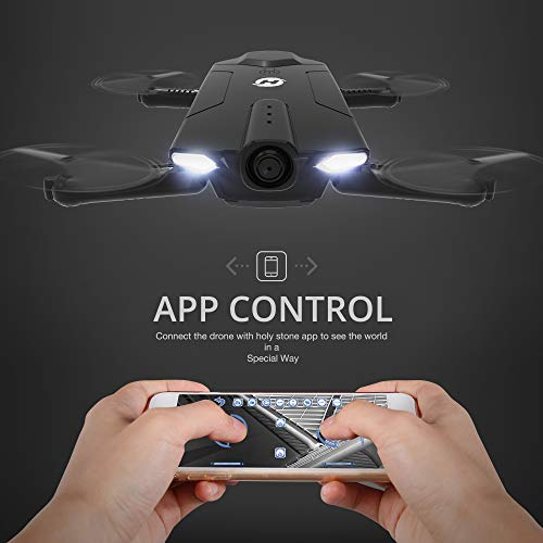 Holy Stone HS160 Shadow FPV RC Drone with 720P HD Wi-Fi Camera Live Video Feed 2.4GHz 6-Axis Gyro Quadcopter for Kids & Beginners - Altitude Hold, One Key Start, Foldable Arms,Bonus Battery by Holy Stone (Image #1)