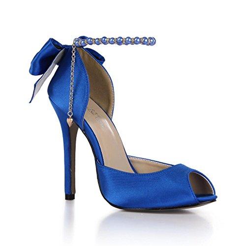 Best 4U® Sandalias de verano para mujer Cómodas bombas de imitación de seda Peep toe Bow Pear Chain 12CM Zapatillas de deporte de tacón alto con suela de goma , Blue , EU37