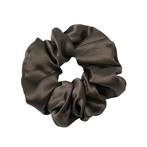 LilySilk Silk Charmeuse Scrunchy -Regular -Scrunchies For Hair – Silk Scrunchies For Women Soft Hair Care Chocolate
