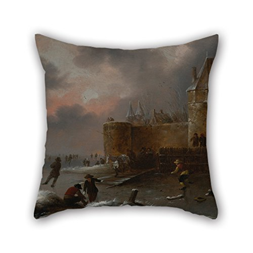 Alphadecor Throw Cushion Covers Of Oil Painting Molenaer, Klaes - Winter Landscape With Skaters 20 X 20 Inches / 50 By 50 Cm,best Fit For Her,chair,wedding,kids Room,boys,dinning Room 2 - Sunset Clear Visor