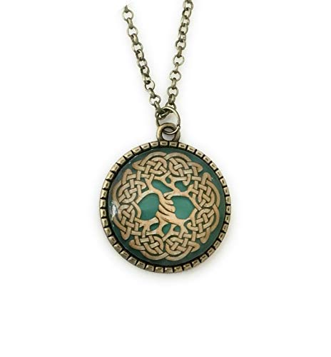Life Celtic Knot - Tree of Life Necklace - Green Celtic Knot - Druid Jewelry - 24 inches
