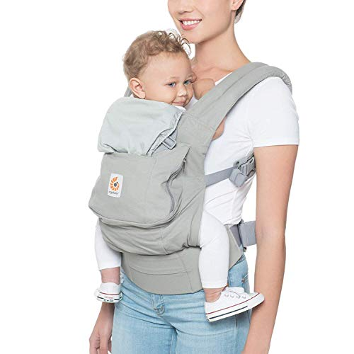 Ergobaby Carrier, Original 3-Position Baby Carrier with Lumbar Support and Storage Pocket, Pearl Grey