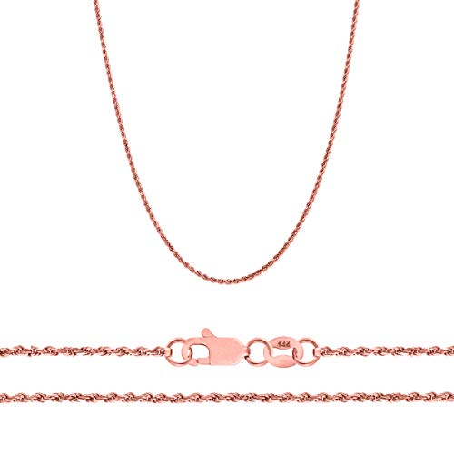 Orostar 14K Yellow, White. and Rose Gold 1.5mm Diamond Cut Rope Chain Necklace, 16