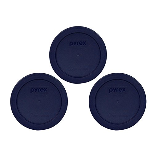 - Pyrex Blue 2 Cup Round Storage Cover #7200-PC for Glass Bowls 3-Pack