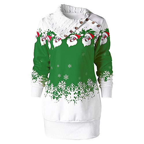 COPPEN Women Dress Christmas Santa Claus Snowflake Print Plus Size Tunic Sweatshirt