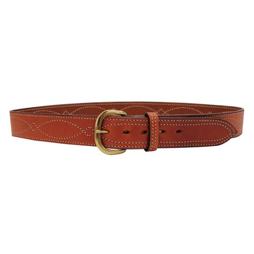 B9 Fancy Stitched Belt, Plain, Tan, Suede, Brass, Size 38