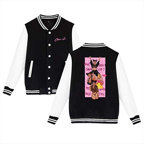 X Q X Baseball Uniform Jacket Sport Coat, Nicki Good from- Minaj Cotton Sweater for Women Men Boy Girls Black]()