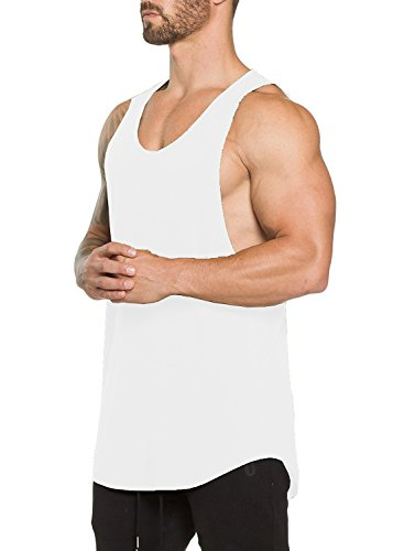 Ouber Men's Gym Bodybuilding Workout Stringer Tank Top(L,White)