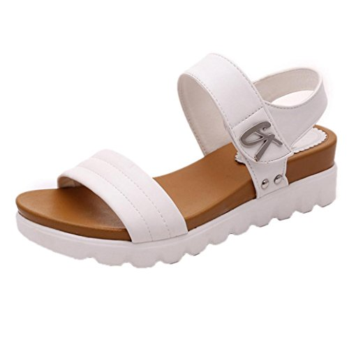 Shoes Shoes Flat Womens (Women Girls Classic Flat Shoes,Casual Wedge Platform Sandals Slippers Shoes for Party Work (White, US 8.5))