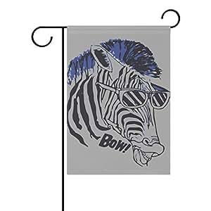 Banderas Decorativas para exterior doble cara bienvenida bandera de Jardín con diseño de lazo Cool Zebra para Patio Banderas al aire libre banderas