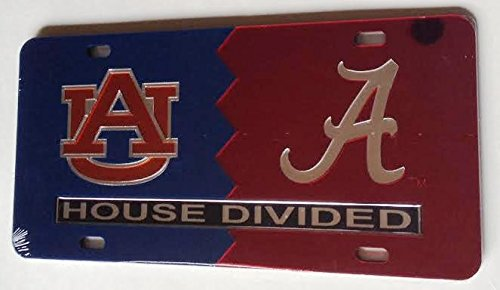 Auburn Tigers - Alabama Crimson Tide - House Divided Mirrored Car Tag License Plate